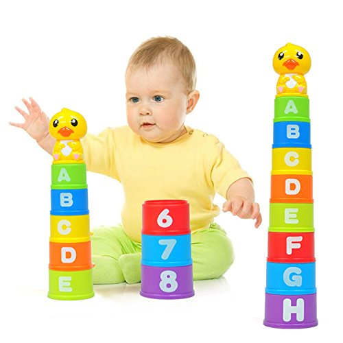Liberty Imports Baby Duck Educational Stacking Up & Nesting Cups Baby Building Toys | 9-Piece Set with ABC Letters and Numbers | Children's Early Education Cup Stacker