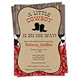 Cowboy Baby Shower Invitations Boots and Bandanas Theme Invites Red Black Country Barn Paisley Printed Cards Customize Personalize Custom (12 Count)