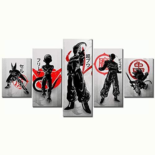 ZDDBD Impresiones Pintura Arte de la Pared 5 Paneles Dragon Ball Goku imágenes de Dibujos Animados Cartel de Lienzo Modular decoración Moderna del hogar Fondo de cabecera