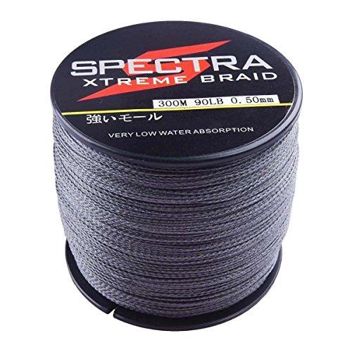 Spectra - Lenza da pesca intrecciata a 4 fili, grigio, super resistente, 2,7-136 kg, in polietilene, forte resistenza alla trazione, per pesca in acqua salata e dolce, 2000m/2187Yards 40lb/0.32mm