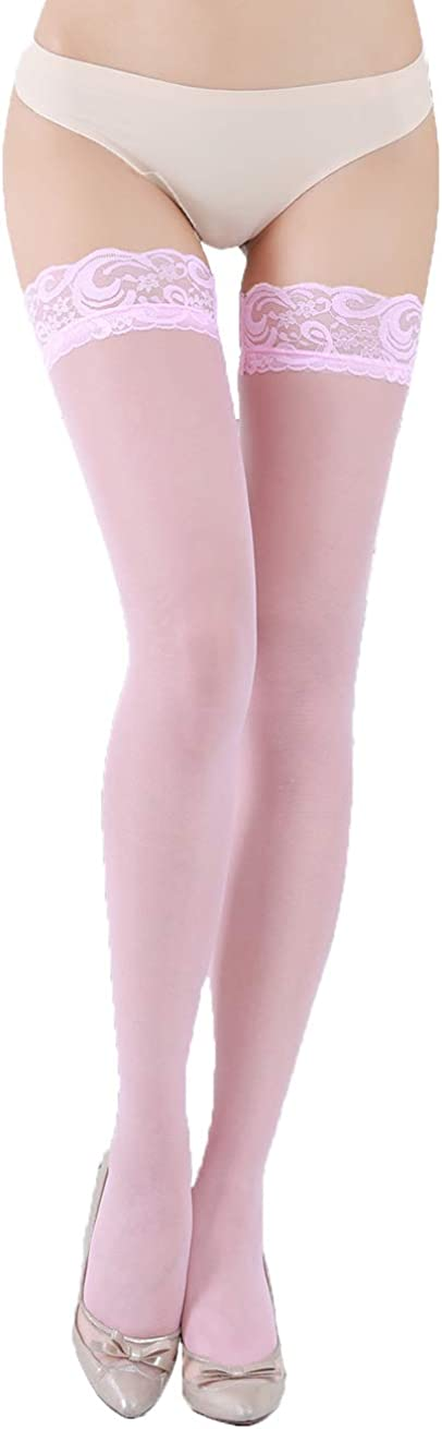 Kikoroco Women's Lace Top Thigh High Stockings Thickened Tiptoe and Anti-skidding Lace Pantyhose