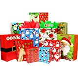 Fzopo Christmas Gift Bags Bulk Set Includes 4 Extra Large 4 Large 4 Medium with Handles Christmas Print Gift Bags Assorted Sizes for Wrapping Holiday Gifts (Variety Pack)