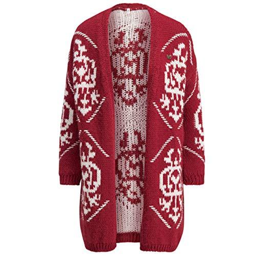 Blutsgeschwister Damen Strickjacke Wolly Wonderful Cardycoat Queens Crown rot/Weiss - L