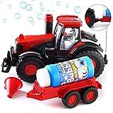 Bubble Blowing Traktor mit Licht und Ton | Haupttraktor- Trichter- und Blasenlösungsflasche enthalten | Batteriebetriebener Traktor | Am besten ab 3 Jahren (Batterien nicht im Lieferumfang enthalten)