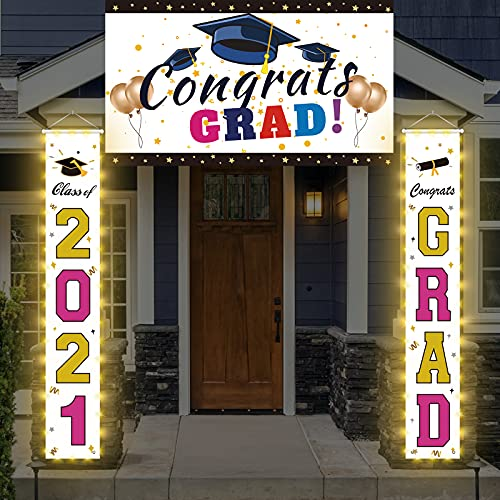 Led Light up Graduation Decorations, Large Congratulations Banner Set, Class of 2021 Graduation Party Supplies, Congrats Grad Decorations Hanging for Door Porch Yard Sign, Gold & Rose Red.