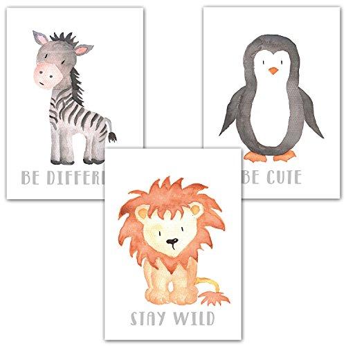 Frechdax® 3er Set Kinderzimmer Poster Babyzimmer DIN A4 ohne Bilderrahmen | Mädchen Junge | Kinderposter Kunstdruck im skandinavischen Stil | schwarz/weiss oder bunt | Set-10