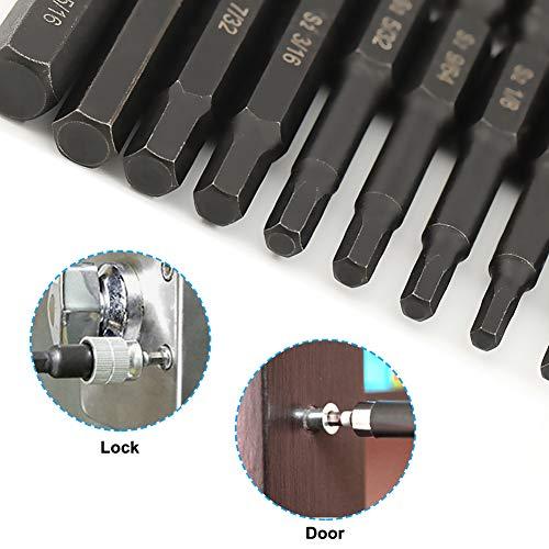 COMOWARE Allen Wrench Drill Bit Set - Hex Bits Set, Magnetic Tips, Quick Release, 10 Pack