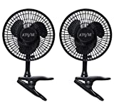 Active Air HORF6 6-Inch Clip-On 360-Degree 5W Brushless Motor Hydroponic Grow Fan with Spring-Loaded Plastic Clip for Gardens, Black, 2 Pack