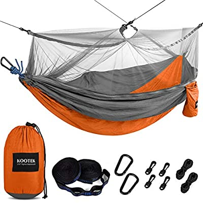 Kootek Camping Hammock with Mosquito Net Double & Single Portable Hammocks Parachute Lightweight Nylon with Tree Straps for Outdoor Adventures Backpacking Trips (Orange & Grey, Large)