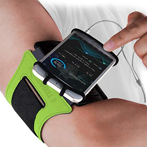 Sports Armband: Rotatable Running Phone Arm Band Holder Case for All Phones Apple iPhone 12 11 XS XR Pro Max 8 6 6S Plus & All Android Samsung Galaxy S9 S10 S20 + Note 8 9 10 Edge LG & Pixel (Green)