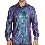 WULFUL Men Dress Shirt Sequins Long Sleeve Button Down Shirt Luxury Disco Party Nightclub Christmas Prom Costume