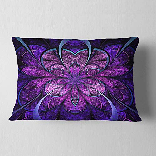 Designart Blue And Purple Large Fractal Flower Floral Throw Lumbar Cushion Pillow Cover For Living Room Sofa 12 X 20 Shefinds