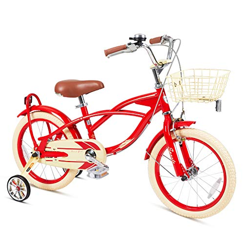 FOUJOY Kids Bike 18 Inch with Training Wheels and Basket for 5-10 Years Old Kids Gentle Style Rustic Look (Red)