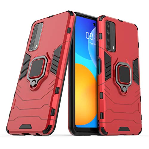 LuluMain Compatible con Huawei P Smart 2021, Huawei Y7a Funda, Anillo Metálico Sujeción Soporte Antichoque Caja (Funciona con el Montaje de Coche Magnético) Doble Capa Case Carcasa (Rojo)