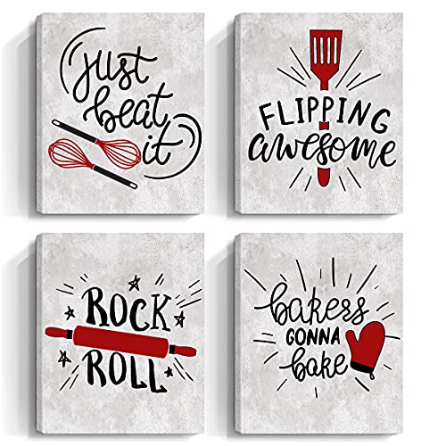"""Quotes Kitchen Canvas Wall Art - Red,Black and Gray Fun Inspirational Bakery Decor Prints Posters - Restaurant Cafe Bar Baking Framed Decorations Picture, Set of 4, 8""""x10"""""""
