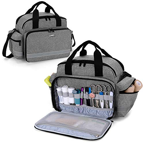 Trunab Medical Supplies Bag Nurse Bag with Handle and Shoulder Strap for Home Health Care Hospice Visit Travel or Emergency Event Grey Bag ONLY