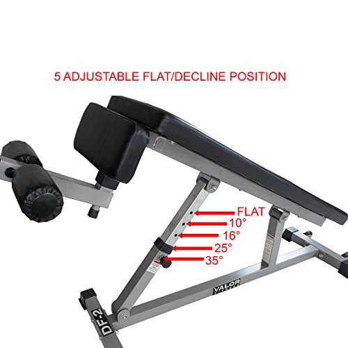 Valor Fitness DF-2 Decline/Flat Bench for Weightlifting and Ab Crunches – 5 Adjustments