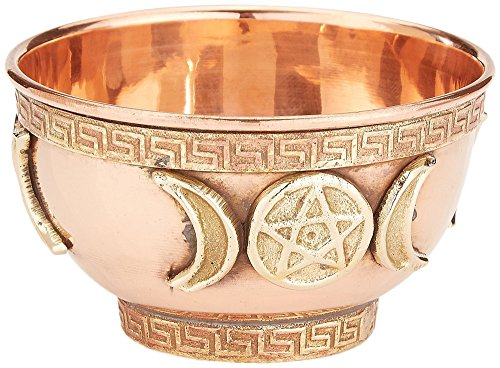 Triple Moon Pentacle Copper Offering Bowl 3', Great for Altar use, Ritual use, Incense Burner, smudging Bowl, Decoration Bowl, offering Bowl - New Age Imports, Inc.