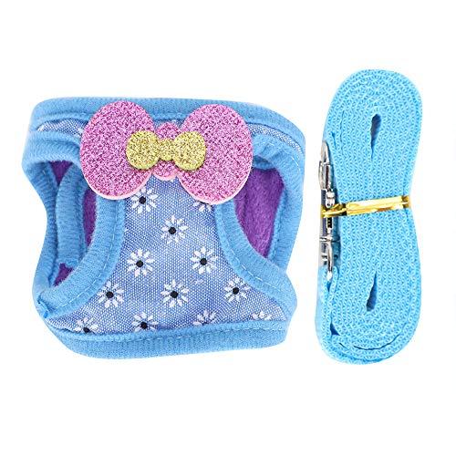 ViaGasaFamido Haustier Brustgurt Set, verstellbares, atmungsaktives Brustgurt-Set für Kleintiere Haustier Blau Snowflake Pattern Outdoor Walking Traction Leash Kit(L)
