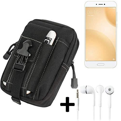 K-S-Trade Gürteltache Für Xiaomi Mi 5c Gürtel Tasche Holster Schutzhülle Handy Schutz Hülle Smartphone Tasche Outdoor Handyhülle Schwarz Inkl. Extrafächer + Kopfhörer
