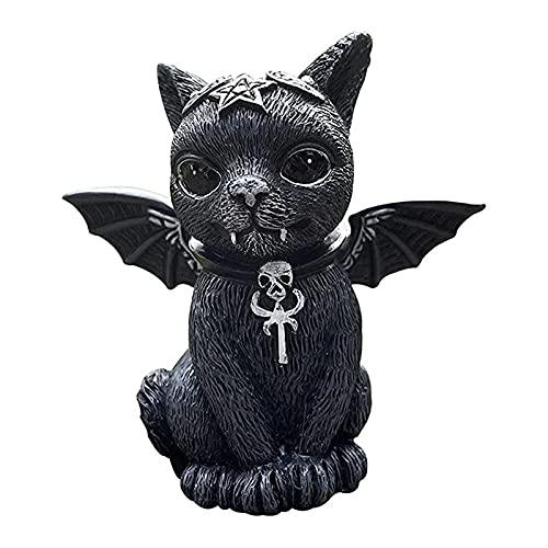 Yokbeer Gato Halloween Césped Resina Adorno de Escritorio Estatua de Gato Negro Divertida Estatua de Jardín Al Aire Libre Estatuilla Decoración de Halloween Fiesta de Halloween para Decoración de Jard