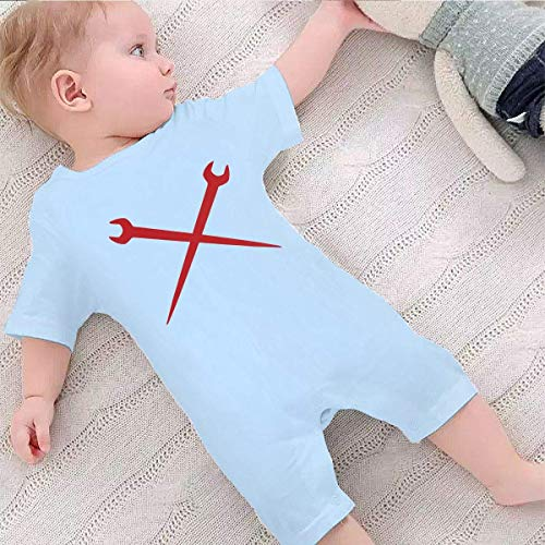 SDHEIJKY Baby Short Sleeve Bodysuit, Ironworker Crossed Tools Baby Boys Girls Onesie Clothes Sky Blue
