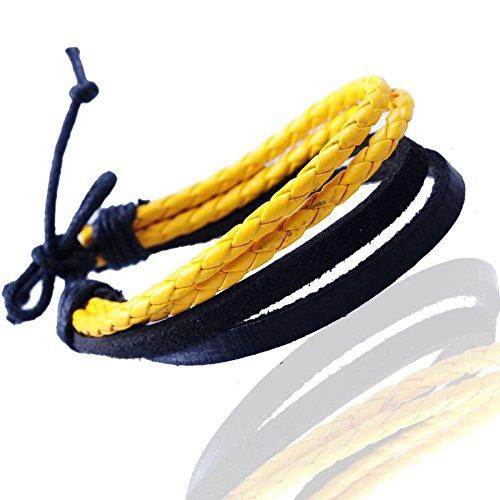 Gemini Armband (gelb&schwarz), Leder- Seilkombination, Knotenverschluss, Street Style für Boys, Girls, Herren, Damen, Unisex, 12,7 - 25,4 cm (Länge)