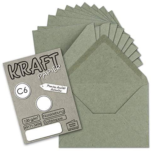 50x Krafpapier Umschläge DIN C6 Grau/Grün - 11,4 x 16,2 cm ohne Fenster - Vintage Briefumschläge mit Nassklebung Spitzklappe - NEUSER PAPIER