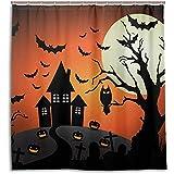 chillChur-DD Shower Curtain Set Tende da doccia Zucca di Halloween Luna piena Tenda da bagno impermeabile Bagno Decorazioni per la casa, 168X183 cm (66X72 pollici) con 12 ganci