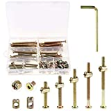 Keadic 100Pcs M6 40/50/60/70/80mm Baby Bed Screws Hardware Replacement Kit, Hex Socket Hea...