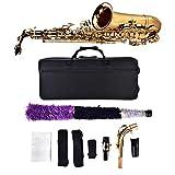 Saxophone Alto, Kit de Saxophone Alto Mi Bémol en Laiton Professionnel pour Enfants Adultes avec Gants Chiffon Brosse Sangle Embout Buccal Graisse Etuit de Rangement