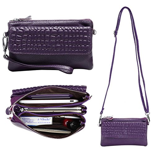 Semikk Women Soft Genuine Leather Smartphone Wristlet Purse Cell Phone Cross Body Bag Wallet Clutch Handbag with Card Slots/Shoulder Strap/Wrist Strap - for iPhone 6s Plus,iPhone 6s (Purple) Small