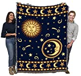 Sun Face and Moon Face - Cotton Woven Blanket Throw - Made in The USA (72x54)