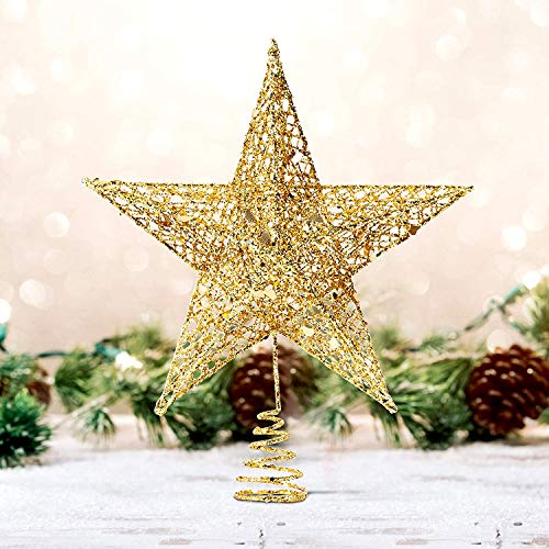 Fantaspic Series Christmas and New Year Treetop Star, Holiday Season 10-Inch Gold Glittered 5 Point Star Tree Topper, Thanksgiving, Xmas, New Year Home Party Festival Glittering Decoration (10 inch)