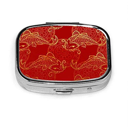 Pastillero - Pastillero personalizado para carpas japonesas Koi vintage, caja de pastillas de metal rectangular portátil, 2 espacios, estuche compacto para pastillas, para viaje/bolsillo/bolso