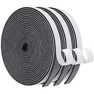 Foam Seal Tape-3 Rolls, 1/2 Inch Wide X 1/8 Inch Thick High Density Foam Strip Self Adhesive Neoprene Rubber Door Weather Stripping Insulation Foam Window Seal Total 50 Feet Long ?16.5ft x 3 Rolls?