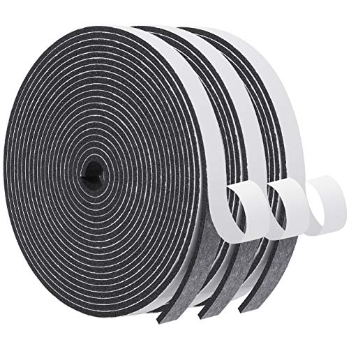 Foam Seal Tape-3 Rolls, 1/2 Inch Wide X 1/8 Inch Thick High Density Foam Strip Self Adhesive Neoprene Rubber Door Weather Stripping Insulation Foam Window Seal Total 50 Feet Long (16.5ft x 3 Rolls)