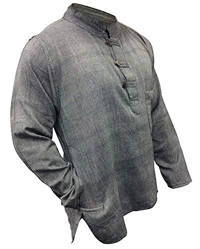 Shopoholic Fashion leicht Hippie Festival Großvater Shirt - grau, X-Large