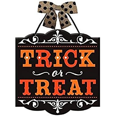 Trick or Treat  Halloween Sign - Wood with Printed Polka Dot Burlap Bow - 12 x 11-3/4 Inches