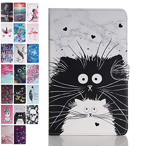 ANCASE Tablet Case for Apple iPad Mini 5 4 3 2 1 Cover Leather Wallet Folio Pattern Design Case Protective with Card Slots - Black and White Cat