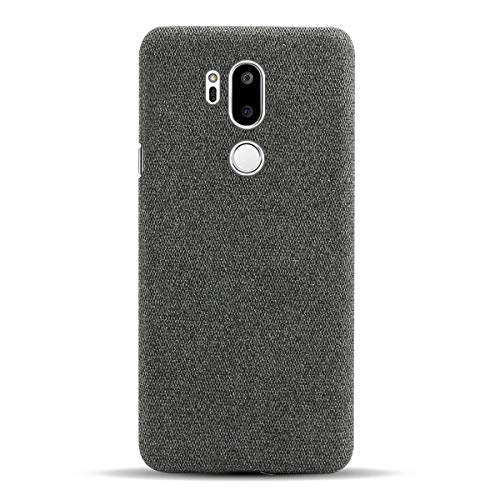 Suhctup Hülle Kompatibel mit LG V50 ThinQ, Stylisch Elegant Stoff Cover Handyhülle - R&umschutz, Ultra Dünn Anti-Fingerabdruck Anti-Scratch Stoffmuster Schutzhüll Tasche, LG V50 ThinQ - Grau