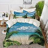 ropa de cama - Juego de funda nórdica, decoración tropical, relajación en la playa, isla de luna de miel y luna de miel, funda nórdica de microfibra hipoalergénica con 2 fundas de almohada de 50 x 75