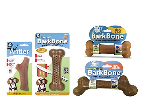 Pet Qwerks Nylon Dog Chew Toys Variety Pack for Aggressive Chewers for Medium & Small Dogs Set of 4 Durable, Tough, Nearly Indestructible Bones, Power Chewer Value Pack Toy Assortment,Beige(PQVP3)