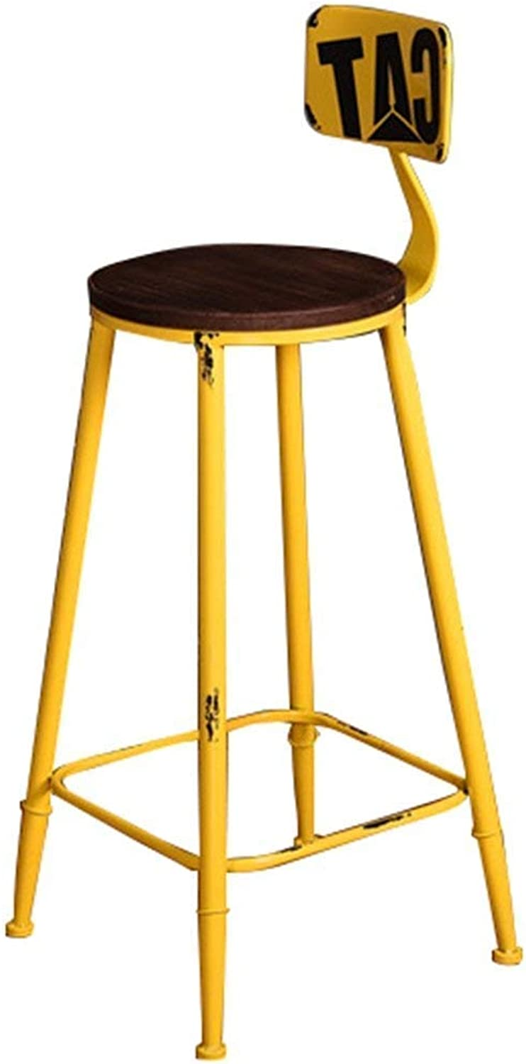 Barstools Retro Solid Iron legsChairs Industrial Winds Decoration Stool High Stool High Chair for Kitchen   Pub   Café   Solid Wood Cushion(Sitting Height  65 75 85cm)