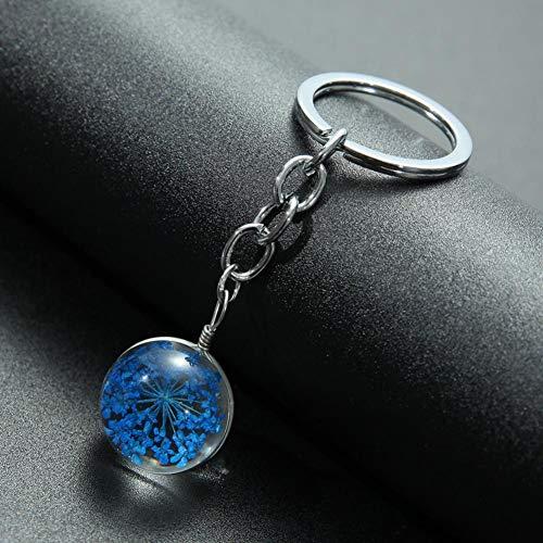 N/A Mooie droge bloem kristallen kogel sleutelhanger mooie kersenbloesem klavertje vier kleurrijke bloemen tas auto sleutelring ketting
