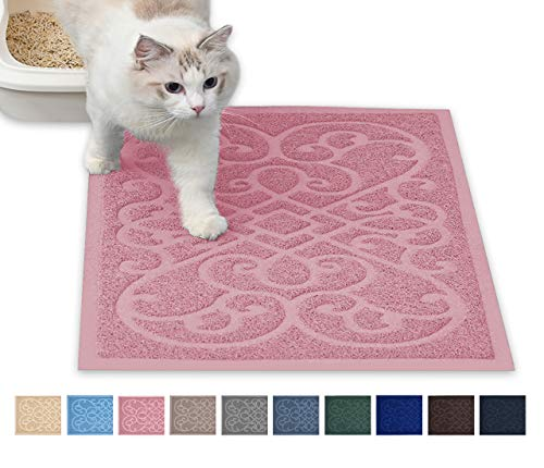 PetLike Cat Litter Mat Kitty Litter Mats for Tray Boxes, Kitty Litter Trapping Mat House Floors Clean (30 x 18, Light Pink)