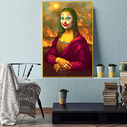 MITAKU Funny Joker Mona Lisa Smoking Pop Art Canvas Painting Wall Canvas Poster and Print Canvas Picture for Living Room Home Decor