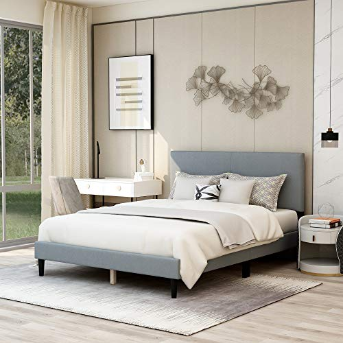 Upholstered Panel Bed Frame Queen Size with Headboard,Box Spring Needed/Mattress Foundation/Wood Slat Support,Light Grey