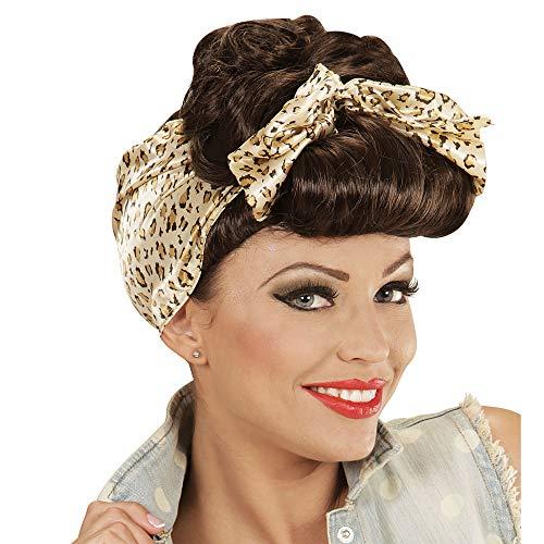 Widmann 01852 - Perücke Rockabilly Pin Up Girl braun mit Leopardenmuster Haarband