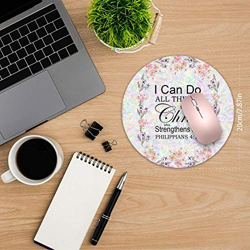 Round Mouse Pad,Bible Verse Philippians 4:13 Mouse Pad Non-Slip Rubber Material Round Mouse Mat for Office Home and Travel-Pineapple(7.87inchx7.87inch) Photo #5